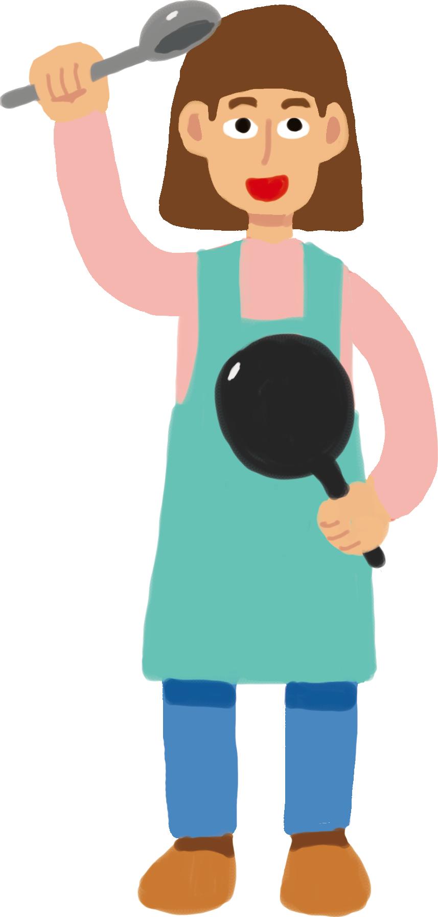 料理をしている女性のイラスト | イラストタウン – 無料おしゃれ手描き